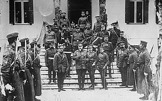 Bulgaria–Greece relations - King George I of Greece visits the Bulgarian Tsar Ferdinand in the headquarters of the Bulgarian army in the city of Thessaloniki during the latter's visit there during the First Balkan War.