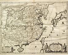 Karte des Kaiserreichs China aus Kirchers China illustrata, 1667 (Quelle: Wikimedia)