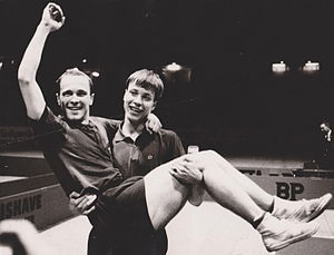 Kjell Johansson (table tennis) - Kjell Johansson carrying his doubles partner Hans Alsér