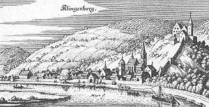 Klingenberg am Main - Klingenberg in the Topographia Hassiae by Matthäus Merian the Younger, 1655