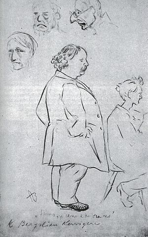 Knud Bergslien - Bergslien at his art academy. Drawn by Andreas Bloch