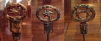 Kofun period - Gilded sword hilts, late Kofun period, 6th century