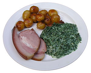 Kale - A traditional New Years Danish dish: boiled ham, glazed potatoes and stewed kale