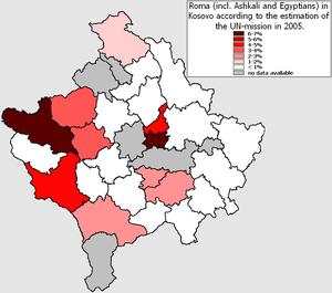 Romani people in Kosovo - Romani in Kosovo according to the estimation of the UN-mission in 2005