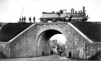 Kraichgau Railway - Overpass over the highway in Jöhlingen after its completion in 1879