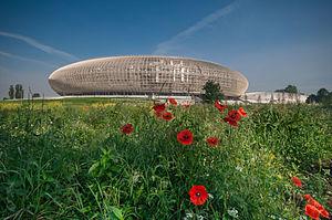 Tauron Arena Kraków - Kraków Arena seen from Stanisław Lem Street
