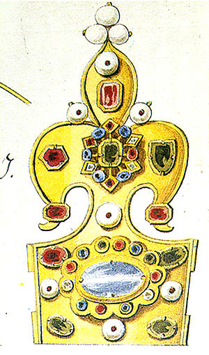Crown of Bolesław I the Brave - Detailed drawing by Krzysztof Józef Werner of a part of the crown before 1794. The drawing was used for the reconstruction in 2001-2003.