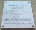 Kubinyi András emléktáblája, Budapest, XI., Bercsényi utca 6..png