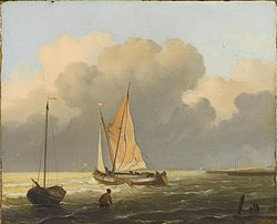 Ludolf Bakhuizen: Seas off the coast, with a spiritsail barge