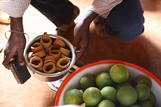 West African cuisine - Klouikloui, rings of fried peanut butter as served in Benin