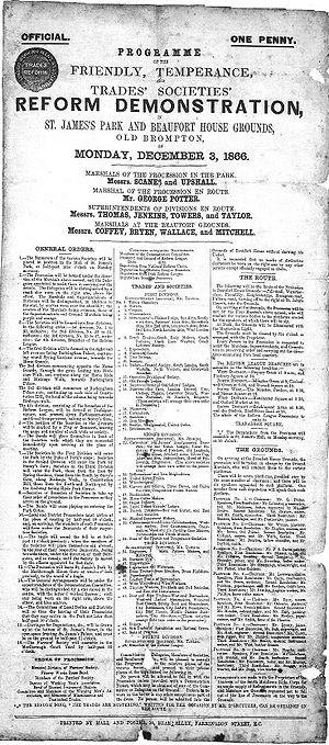 London Working Men's Association - Programme issued by the London Working Men's Association for a Reform Demonstration in 1866.