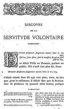 Discourse On Voluntary Servitude Wikipedia