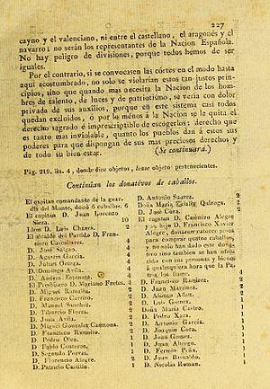 Casimiro Alegre - donations of horses, published by Gazeta de Buenos Ayres on September 6, 1810