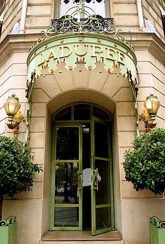 Ladurée - Celadon green façade at the Champs-Élysées flagship house of Ladurée