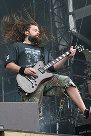 Guitarist Mark Morton performing at the With Full Force music festival in 2007.