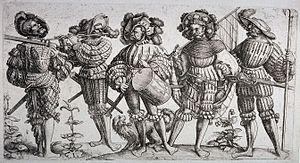 Landsknecht - Landsknechte, etching by Daniel Hopfer, c. 1530