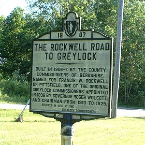 Lanesborough, Massachusetts - The entrance to Rockwell Road, which extends from Lanesborough to the summit of Mount Greylock in Adams