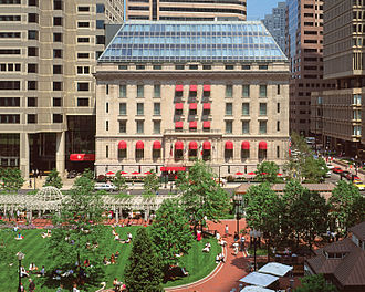 Post Office Square, Boston - The Langham Hotel is situated at the edge of the square. Norman B. Leventhal park is also visible in the foreground.