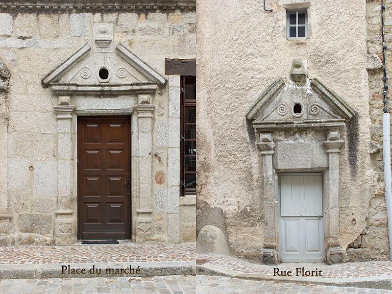 Les portes de la maison Delcroz coté rue Florit et coté de la place du marché