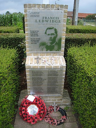 1917 in poetry - Memorial to Francis Ledwidge on the spot where he died