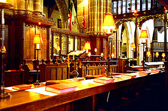 Leicester Cathedral - Choir stalls in the chancel (now removed)