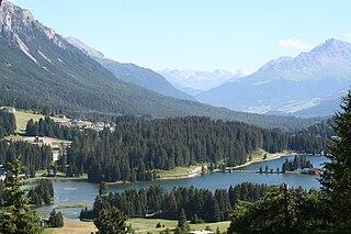 Heidsee lake in Graubünden, Switzerland