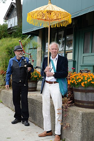 Eden Mills Writers' Festival - Rooke in front of the General Store in Eden Mills where the festival started