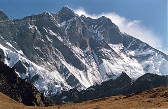 Lhotse - The South Face of Lhotse as seen from the climb up to Chukhung Ri.