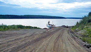 Liard River - Ferry across Liard River, way to Fort Simpson, Northwest Territories