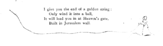 I give you the end of a golden string: / Only wind it into a ball. / It will lead you in at Heaven's gate, / Built in Jerusalem wall [text underlined by illustration].