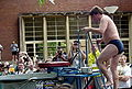 Linus Torvalds - entering dunk tank at linux.conf.au 2004.jpg