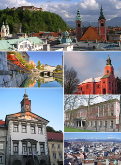 Top: Ljubljana Castle in the background and Franciscan Church of the Annunciation in the foreground;middle left: the Ljubljanicawith the Triple Bridge in distance;middle right: Visitation of Mary Church at Rožnik Hill;bottom left: Ljubljana City Hall;bottom upper right: Kazina Palace at Congress Square;bottom lower right: view from Ljubljana Castle towards the north.