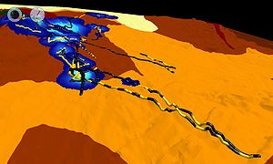 Data fusion - Visualization of fused data sets for rock lobster tracks in the Tasman Sea.  Image generated using Eonfusion software by Myriax Pty. Ltd. - eonfusion.myriax.com