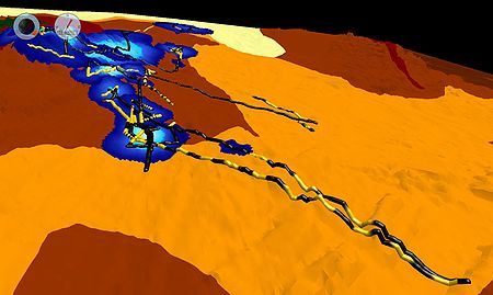 Visualization of fused data sets for rock lobster tracks in the Tasman Sea.  Image generated using Eonfusion software by Myriax Pty. Ltd. - eonfusion.myriax.com