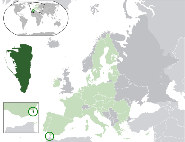 Location of Gibraltar in the far south of the Iberian Peninsula Location Gibraltar EU.png