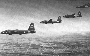 Naval Air Station Hutchinson - NAS Hutchinson Lockheed P2V Neptunes over Kansas, circa 1957.
