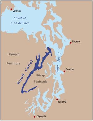 Hood Canal - Hood Canal separates the Kitsap Peninsula and the Olympic Peninsula.