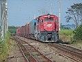 Locomotiva tracionando de ré no final do comboio que passava sentido Guaianã pelo pátio da Estação Pimenta em Indaiatuba - Variante Boa Vista-Guaianã km 217 - panoramio (1).jpg