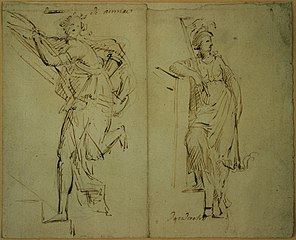Sketch of two allegorical figures
