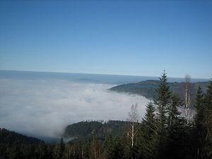 Loffenau - View Teufelsmühle above Loffenau into the Murgtal on a foggy day