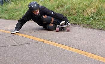 English: Downhill longboarding example picture