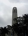 Looking up at Coit Tower on a Cloudy Day.JPG