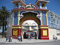 entrance of Melbourne Luna Park