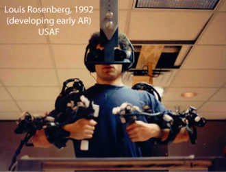 Virtual fixture - Louis Rosenberg testing Virtual Fixtures, one of the first Augmented Reality systems ever developed (1992).
