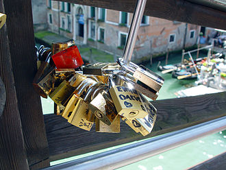 Ponte dell'Accademia - Love padlock talismans at Ponte dell'Accademia