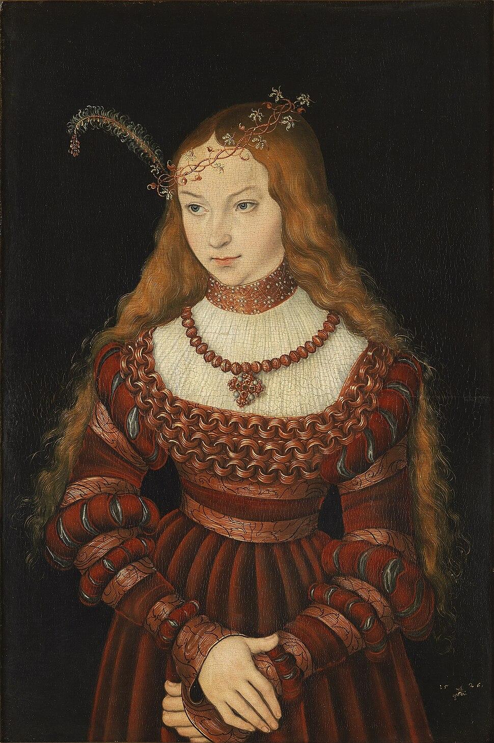 Lucas Cranach d.%C3%84. - Bildnis der Prinzessin Sibylle von Cleve (1526, Klassik Stiftung Weimar)
