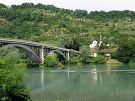 The church and bridge over the Rhône, in Lucey
