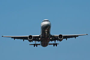 Lufthansa Airbus A320 landing. Front-on view.