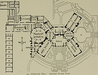 Butterfly plan - Plan of Papillon Hall, Leicestershire