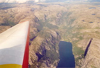 Lysebotn - View of the village and Lysefjorden (aerial view)